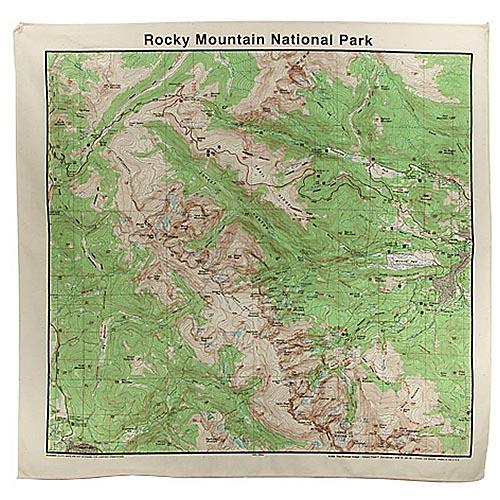 Rocky Mountain National Park Topo Map Bandana   Santa's Christmas